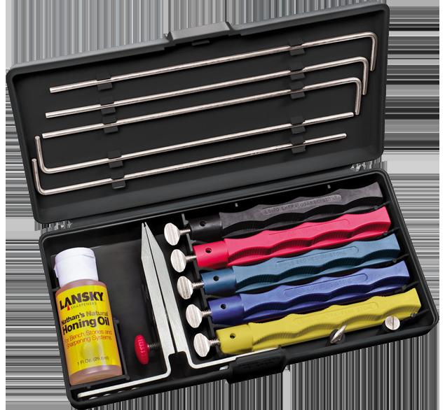 Details about  /Knife Sharpener Deluxe 5 Whetstones Set Sharpening System Lansky Deluxe Tool New